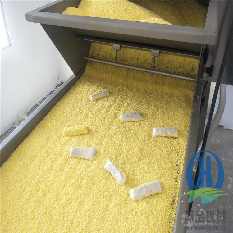 帶魚段上糠機 全自動魚排裹糠機面包糠設備