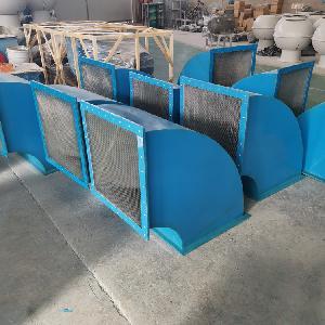 玻璃鋼方形壁式軸流風機90°防雨罩 45度方形風機防雨彎頭價格