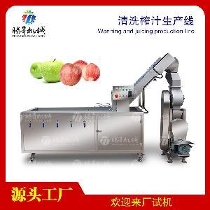 大型电动水果清洗榨汁生产线苹果榨汁机厨房食品加工设备定制